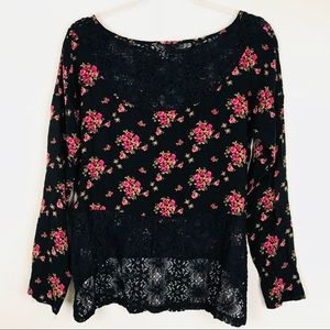 Anthropologie Black Floral Lace Hi Lo blouse